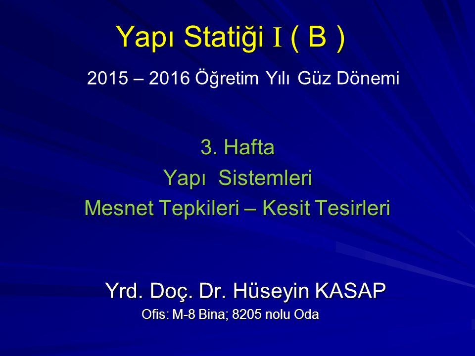 2015 – 2016 Öğretim Yılı Güz Dönemi Yapı Statiği I ( B ) 3. Hafta Yapı Sistemleri Mesnet Tepkileri – Kesit Tesirleri Yrd. Doç. Dr. Hüseyin KASAP Yrd.
