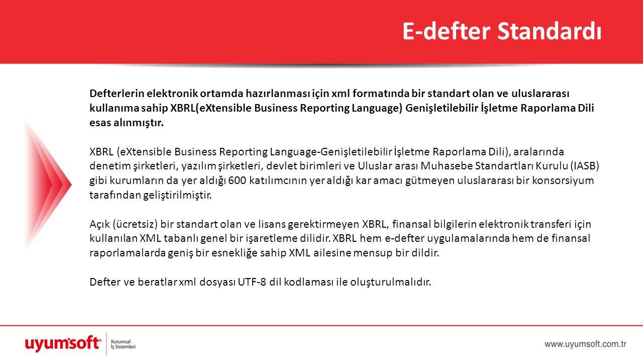 Defterlerin elektronik ortamda hazırlanması için xml formatında bir standart olan ve uluslararası kullanıma sahip XBRL(eXtensible Business Reporting L