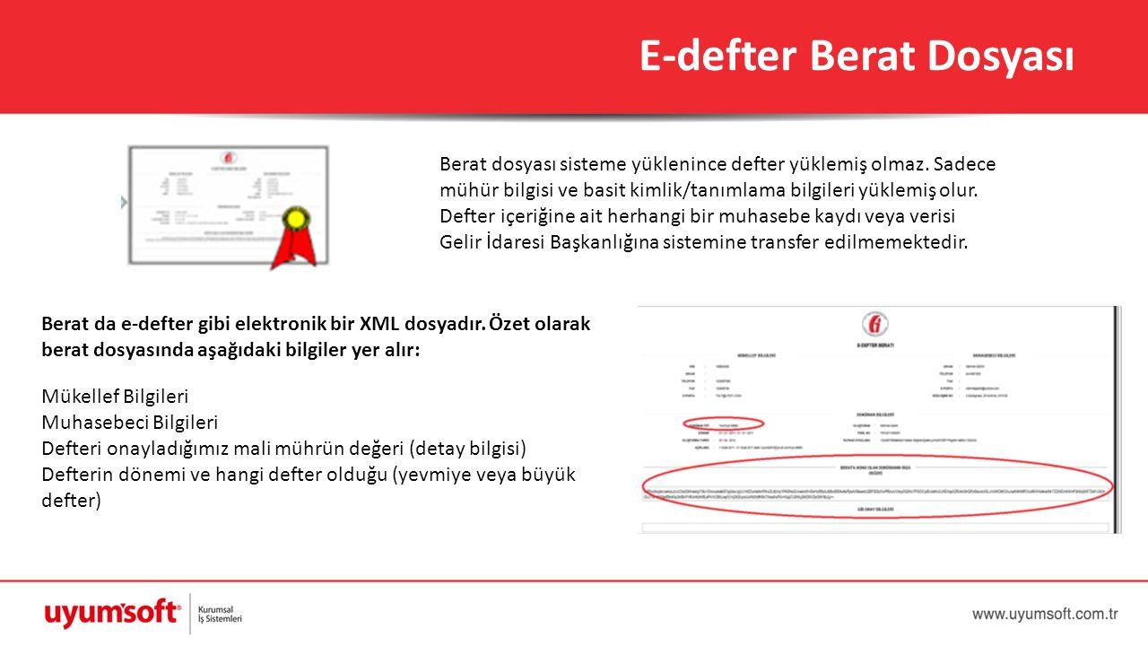 E-defter Berat Dosyası Berat dosyası sisteme yüklenince defter yüklemiş olmaz. Sadece mühür bilgisi ve basit kimlik/tanımlama bilgileri yüklemiş olur.