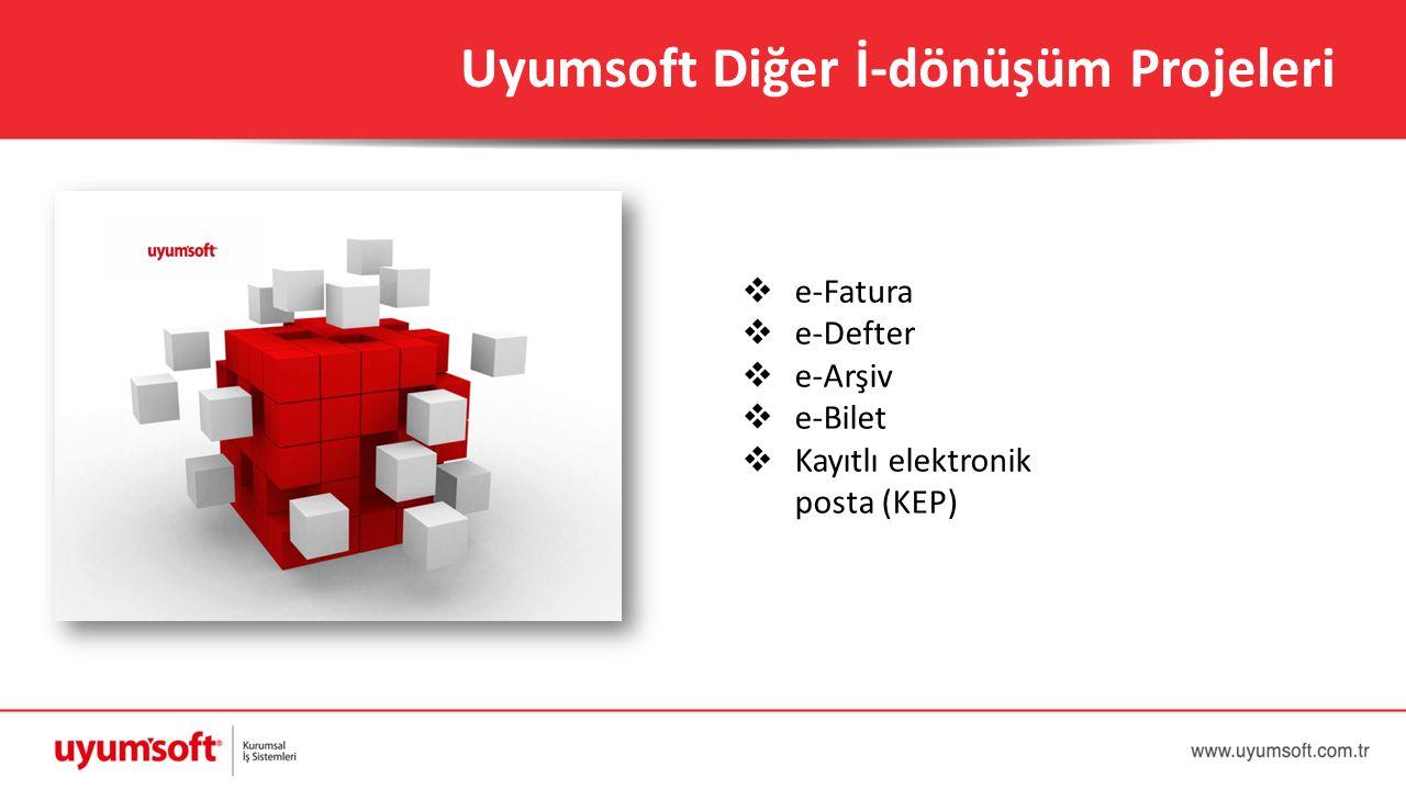 Uyumsoft Diğer İ-dönüşüm Projeleri  e-Fatura  e-Defter  e-Arşiv  e-Bilet  Kayıtlı elektronik posta (KEP)