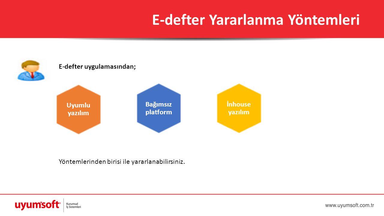 E-defter uygulamasından; Yöntemlerinden birisi ile yararlanabilirsiniz. E-defter Yararlanma Yöntemleri Uyumlu yazılım Bağımsız platform İnhouse yazılı
