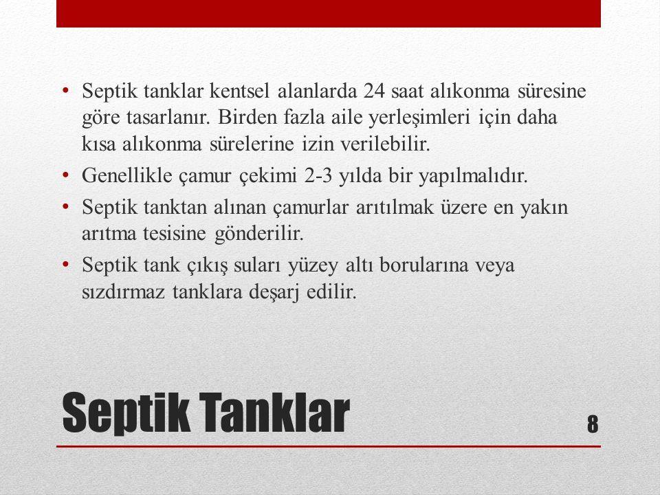Septik Tanklar Septik tanklar kentsel alanlarda 24 saat alıkonma süresine göre tasarlanır. Birden fazla aile yerleşimleri için daha kısa alıkonma süre