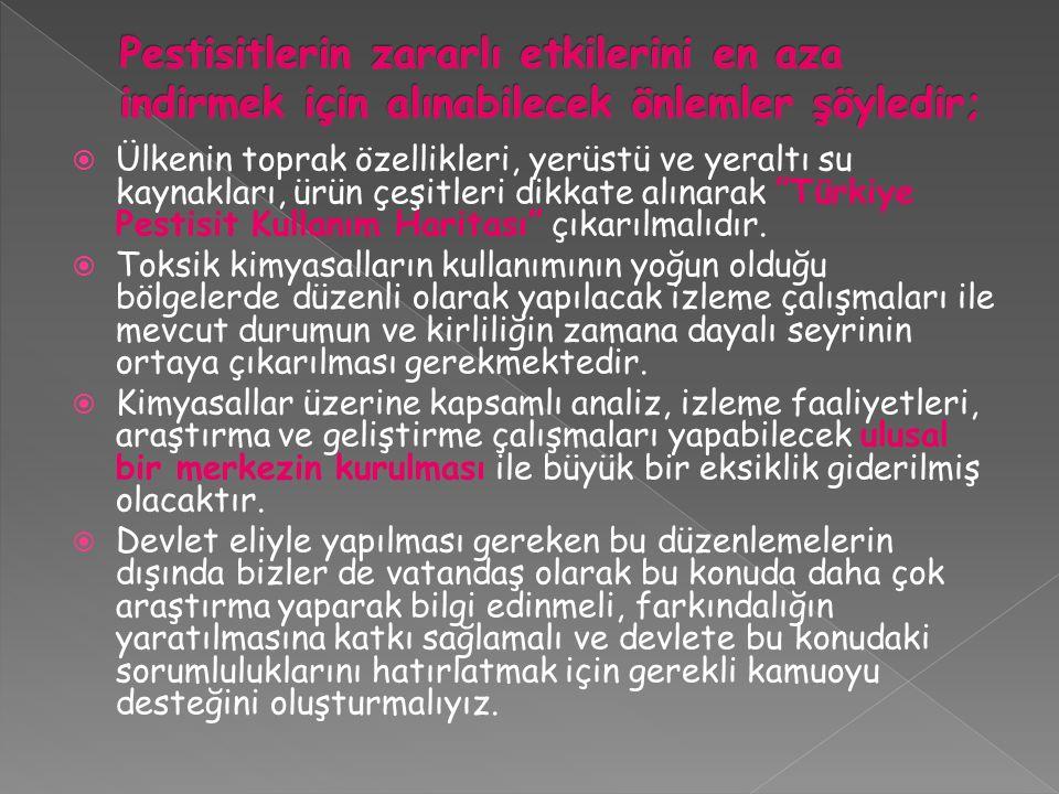 """ Ülkenin toprak özellikleri, yerüstü ve yeraltı su kaynakları, ürün çeşitleri dikkate alınarak """"Türkiye Pestisit Kullanım Haritası"""" çıkarılmalıdır. """