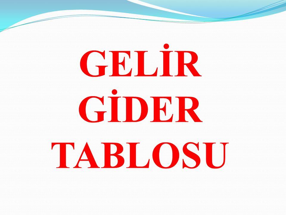 GELİR GİDER TABLOSU