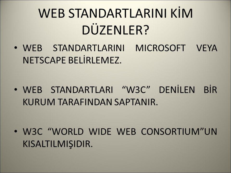 WEB STANDARTLARINI KİM DÜZENLER. WEB STANDARTLARINI MICROSOFT VEYA NETSCAPE BELİRLEMEZ.