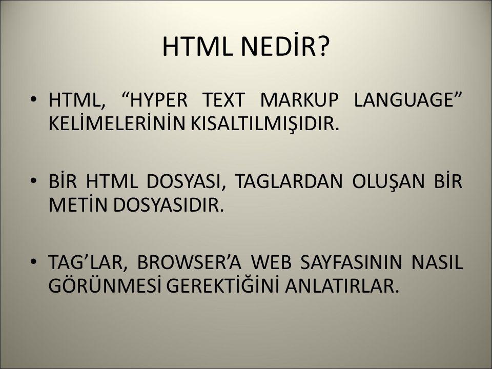 """HTML NEDİR? HTML, """"HYPER TEXT MARKUP LANGUAGE"""" KELİMELERİNİN KISALTILMIŞIDIR. BİR HTML DOSYASI, TAGLARDAN OLUŞAN BİR METİN DOSYASIDIR. TAG'LAR, BROWSE"""