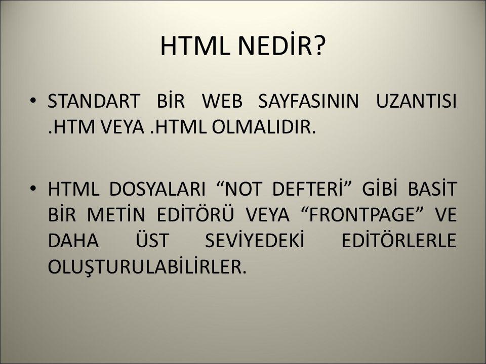 """HTML NEDİR? STANDART BİR WEB SAYFASININ UZANTISI.HTM VEYA.HTML OLMALIDIR. HTML DOSYALARI """"NOT DEFTERİ"""" GİBİ BASİT BİR METİN EDİTÖRÜ VEYA """"FRONTPAGE"""" V"""