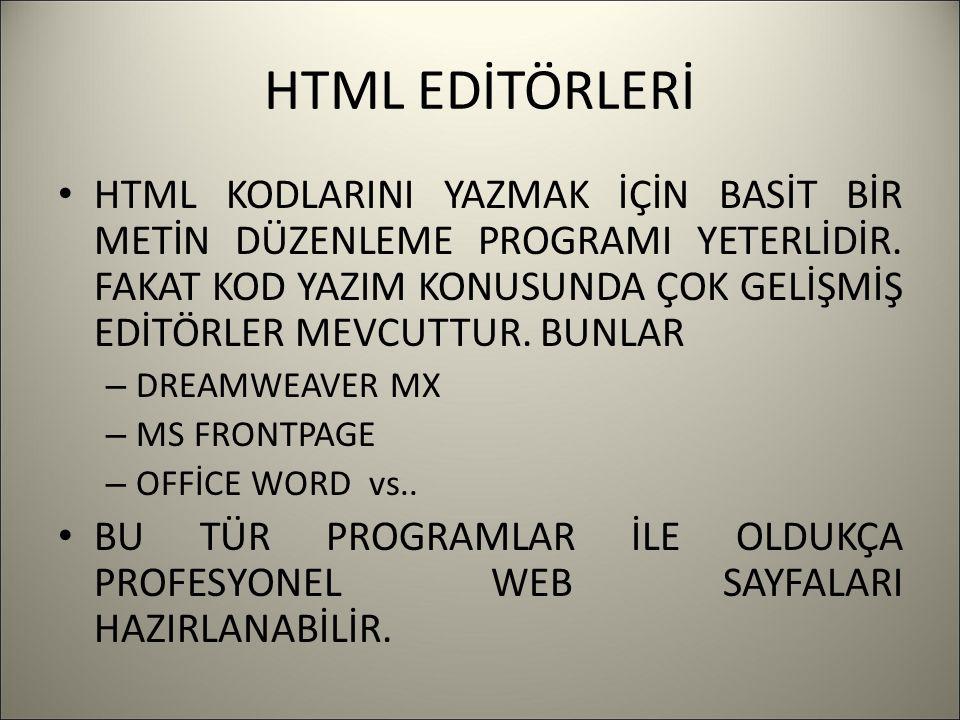 HTML EDİTÖRLERİ HTML KODLARINI YAZMAK İÇİN BASİT BİR METİN DÜZENLEME PROGRAMI YETERLİDİR.