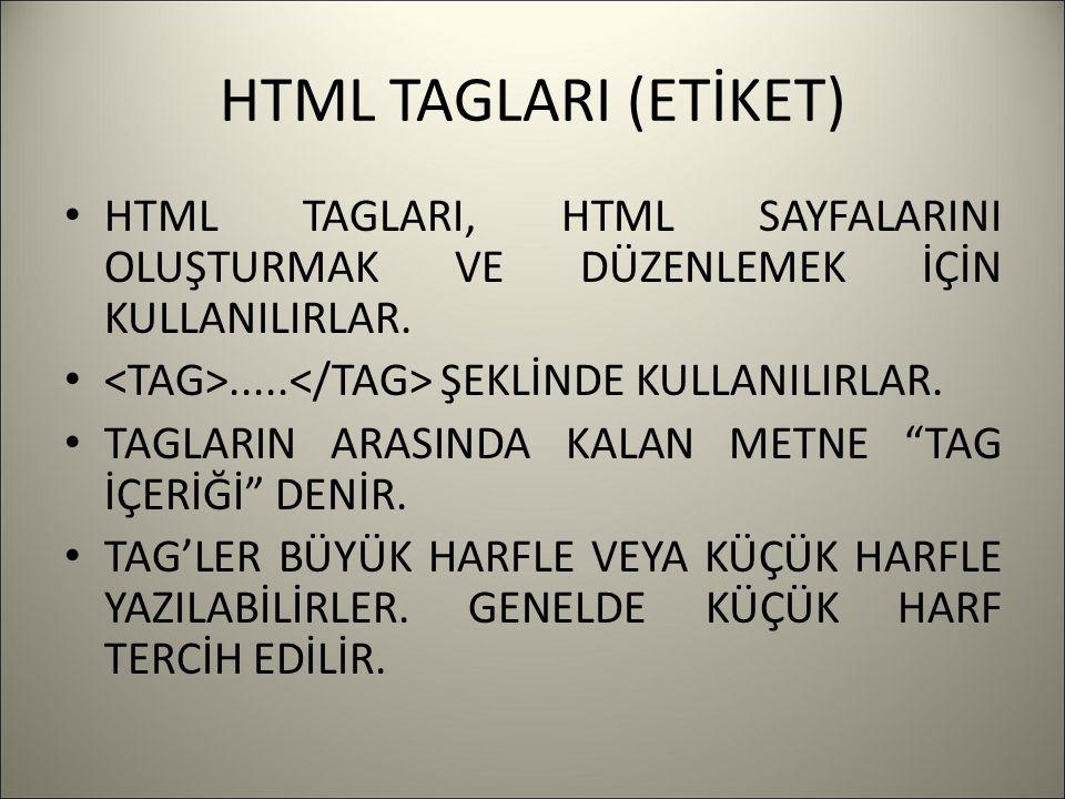 HTML TAGLARI (ETİKET) HTML TAGLARI, HTML SAYFALARINI OLUŞTURMAK VE DÜZENLEMEK İÇİN KULLANILIRLAR...... ŞEKLİNDE KULLANILIRLAR. TAGLARIN ARASINDA KALAN