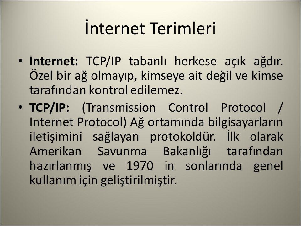 İnternet Terimleri Internet: TCP/IP tabanlı herkese açık ağdır. Özel bir ağ olmayıp, kimseye ait değil ve kimse tarafından kontrol edilemez. TCP/IP: (