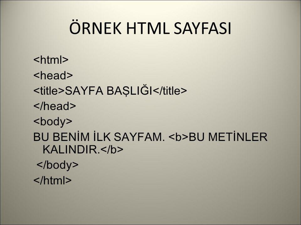 ÖRNEK HTML SAYFASI SAYFA BAŞLIĞI BU BENİM İLK SAYFAM. BU METİNLER KALINDIR.