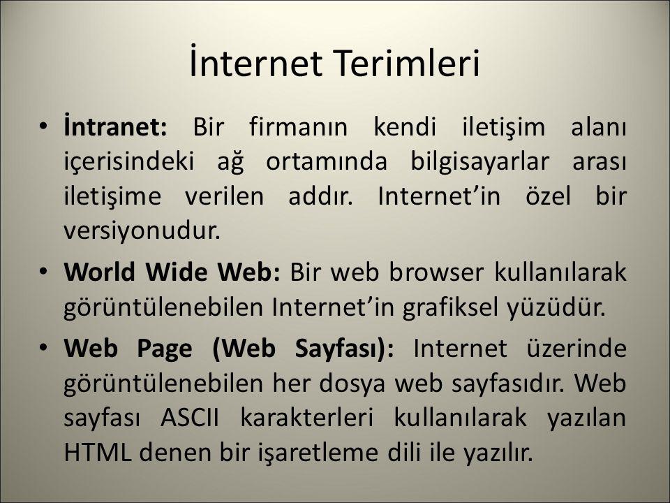 İnternet Terimleri İntranet: Bir firmanın kendi iletişim alanı içerisindeki ağ ortamında bilgisayarlar arası iletişime verilen addır. Internet'in özel