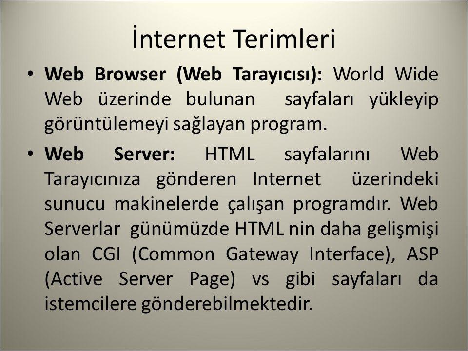 İnternet Terimleri Web Browser (Web Tarayıcısı): World Wide Web üzerinde bulunan sayfaları yükleyip görüntülemeyi sağlayan program. Web Server: HTML s
