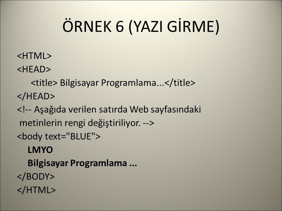 ÖRNEK 6 (YAZI GİRME) Bilgisayar Programlama... <!-- Aşağıda verilen satırda Web sayfasındaki metinlerin rengi değiştiriliyor. --> LMYO Bilgisayar Prog