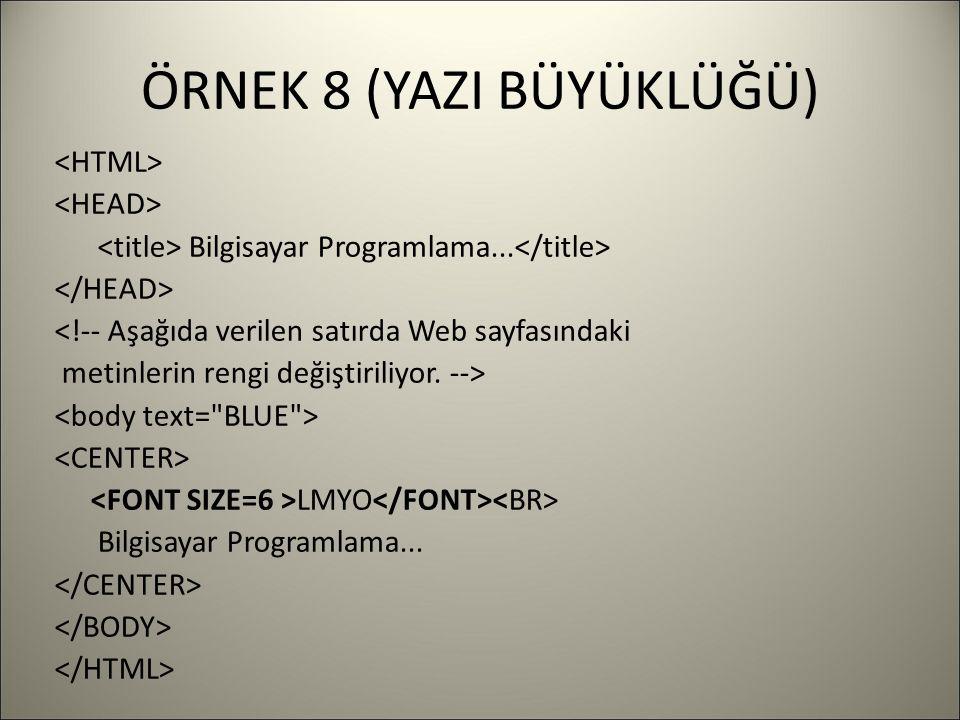 ÖRNEK 8 (YAZI BÜYÜKLÜĞÜ) Bilgisayar Programlama...