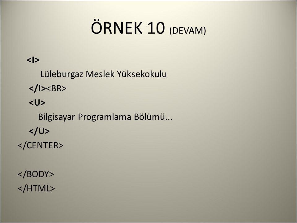 ÖRNEK 10 (DEVAM) Lüleburgaz Meslek Yüksekokulu Bilgisayar Programlama Bölümü...