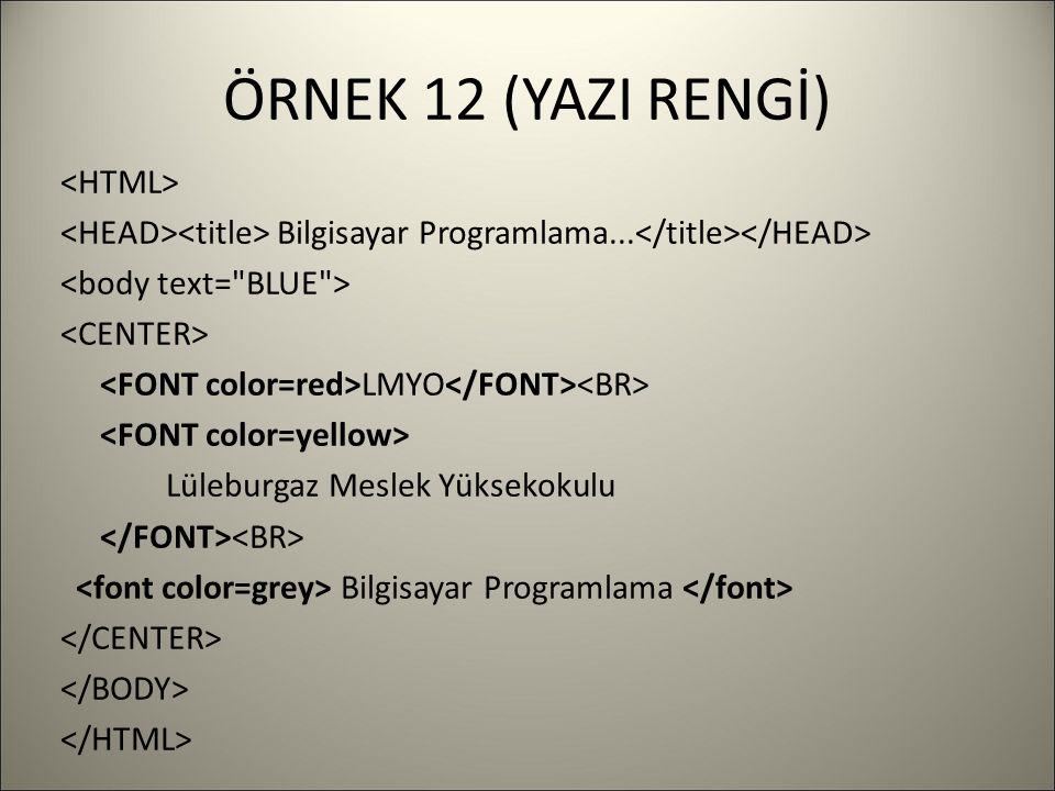 ÖRNEK 12 (YAZI RENGİ) Bilgisayar Programlama... LMYO Lüleburgaz Meslek Yüksekokulu Bilgisayar Programlama