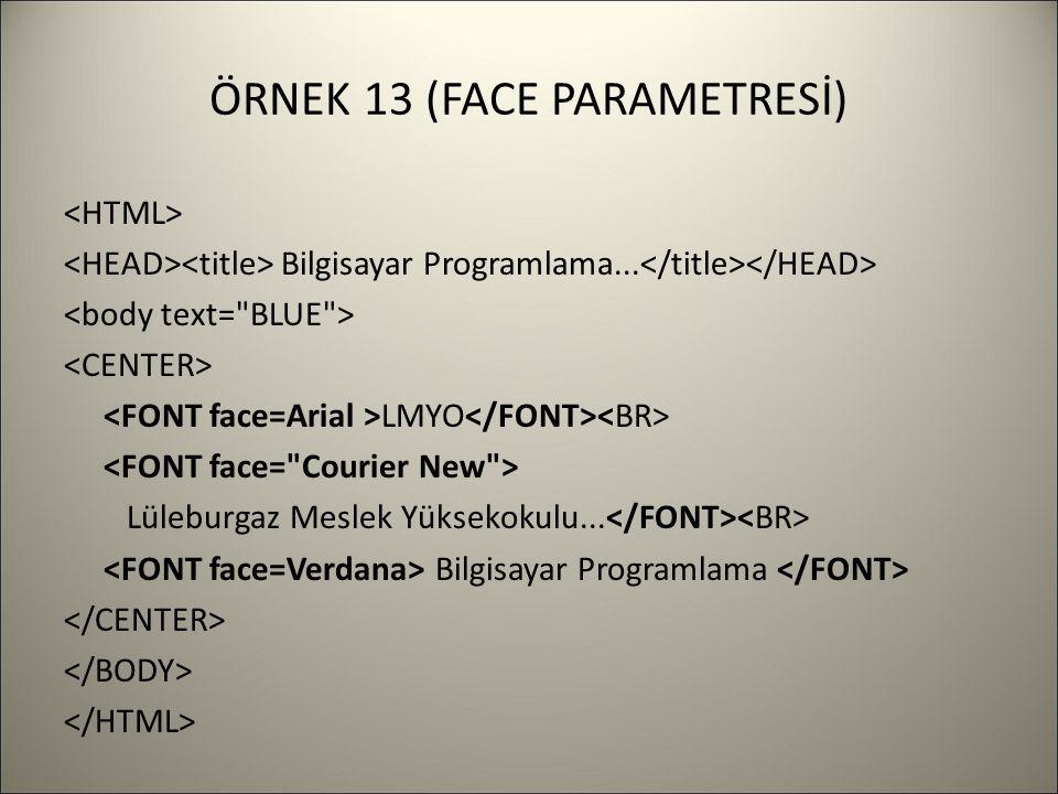 ÖRNEK 13 (FACE PARAMETRESİ) Bilgisayar Programlama...