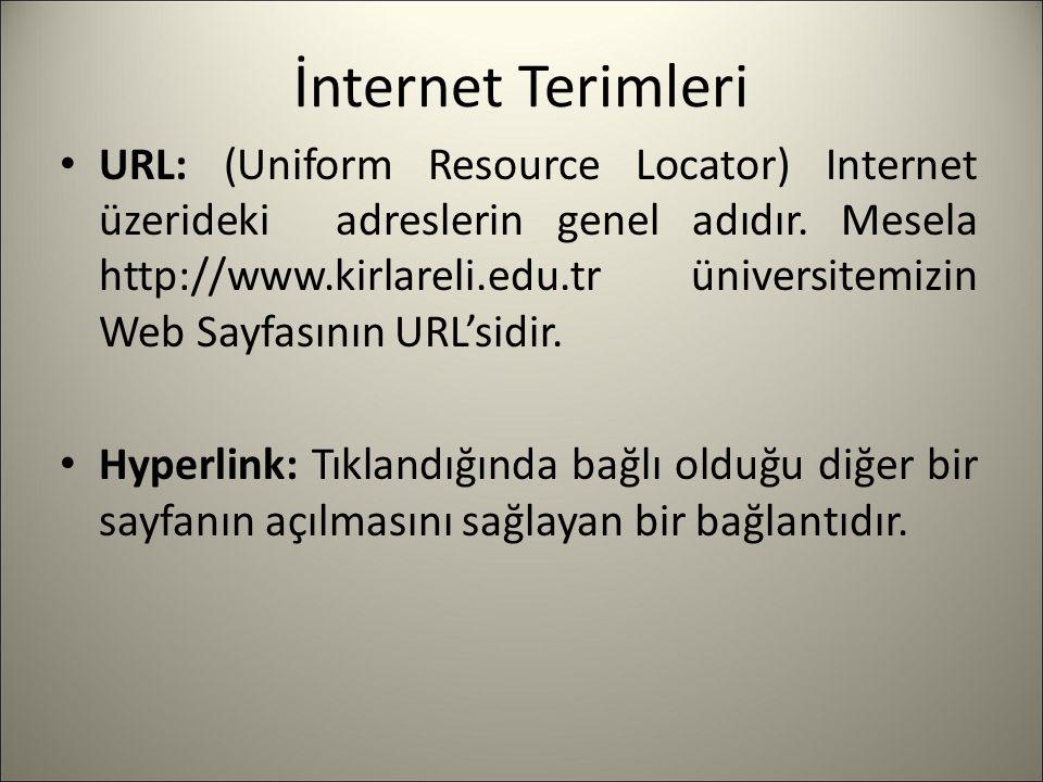 İnternet Terimleri URL: (Uniform Resource Locator) Internet üzerideki adreslerin genel adıdır.