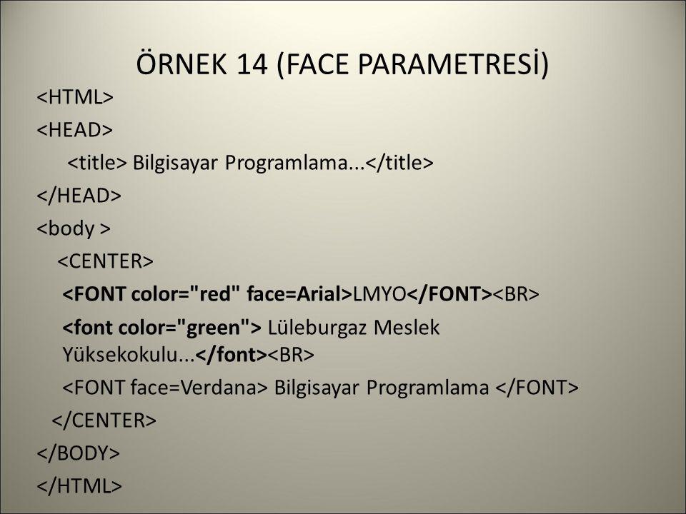 ÖRNEK 14 (FACE PARAMETRESİ) Bilgisayar Programlama... LMYO Lüleburgaz Meslek Yüksekokulu... Bilgisayar Programlama