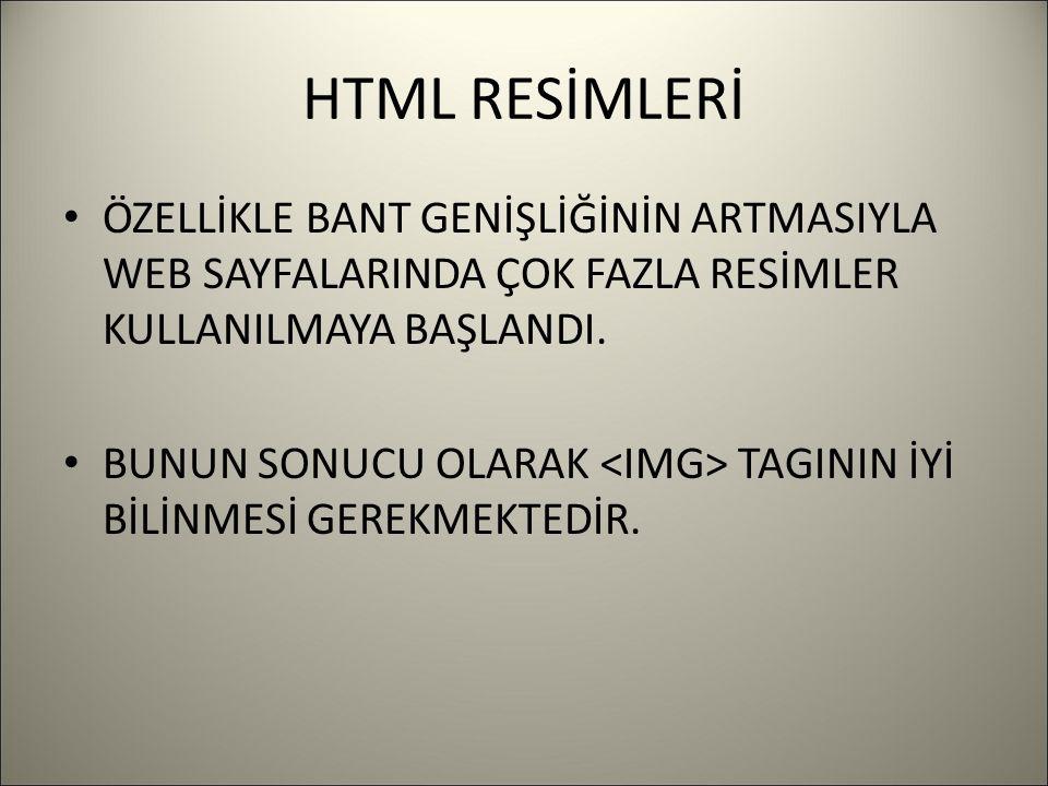 HTML RESİMLERİ ÖZELLİKLE BANT GENİŞLİĞİNİN ARTMASIYLA WEB SAYFALARINDA ÇOK FAZLA RESİMLER KULLANILMAYA BAŞLANDI.