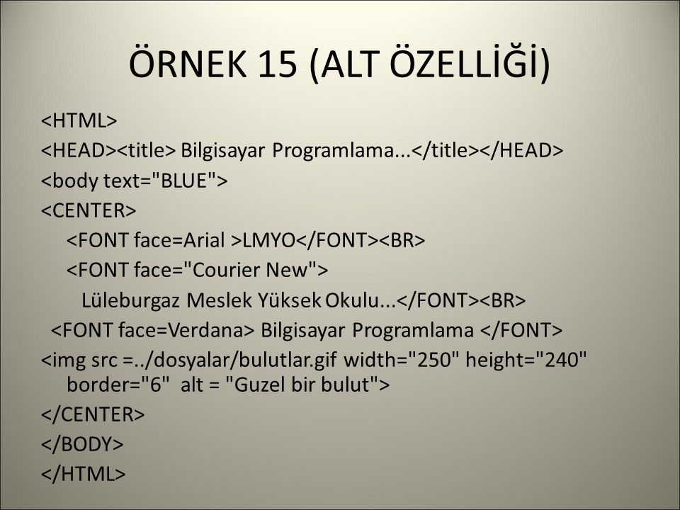 ÖRNEK 15 (ALT ÖZELLİĞİ) Bilgisayar Programlama... LMYO Lüleburgaz Meslek Yüksek Okulu... Bilgisayar Programlama