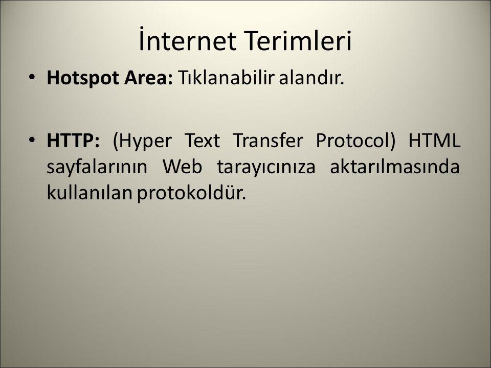 İnternet Terimleri Hotspot Area: Tıklanabilir alandır. HTTP: (Hyper Text Transfer Protocol) HTML sayfalarının Web tarayıcınıza aktarılmasında kullanıl