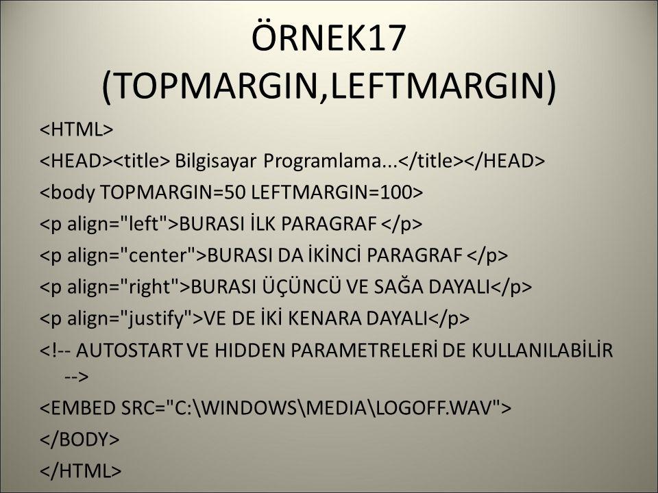 ÖRNEK17 (TOPMARGIN,LEFTMARGIN) Bilgisayar Programlama...