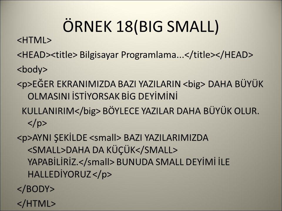ÖRNEK 18(BIG SMALL) Bilgisayar Programlama...