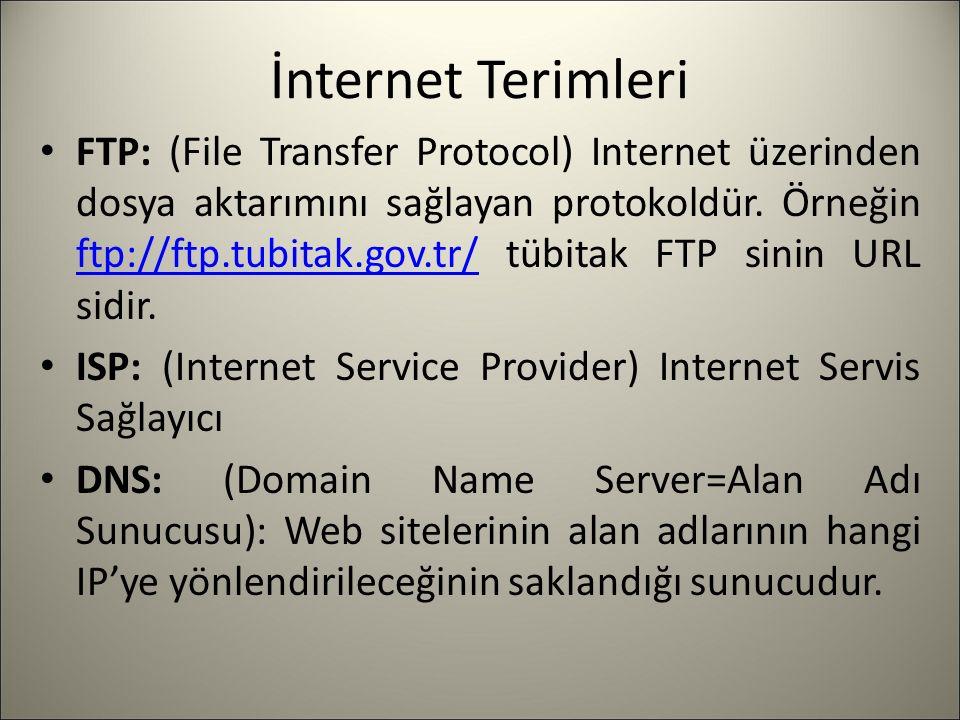 İnternet Terimleri FTP: (File Transfer Protocol) Internet üzerinden dosya aktarımını sağlayan protokoldür.