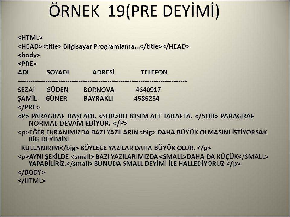 ÖRNEK 19(PRE DEYİMİ) Bilgisayar Programlama...