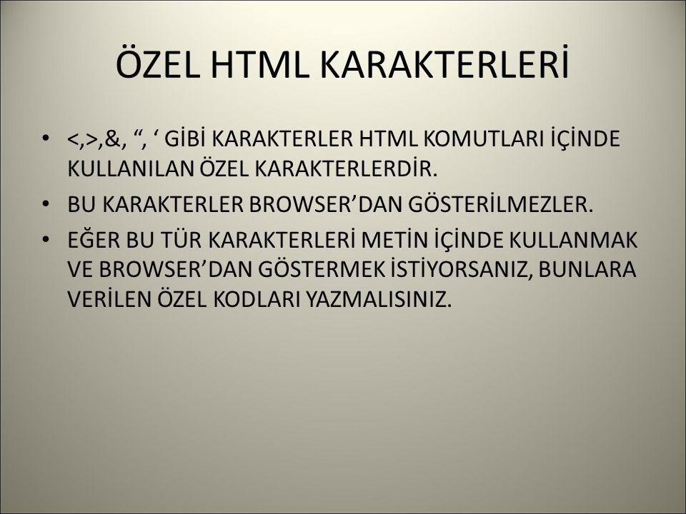 ÖZEL HTML KARAKTERLERİ,&, , ' GİBİ KARAKTERLER HTML KOMUTLARI İÇİNDE KULLANILAN ÖZEL KARAKTERLERDİR.