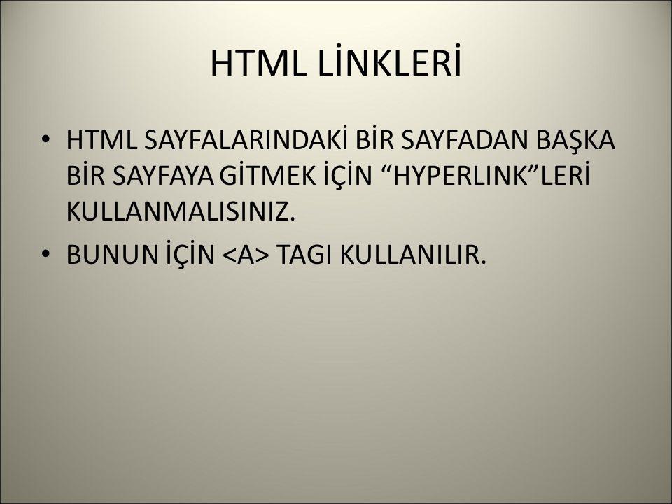 HTML LİNKLERİ HTML SAYFALARINDAKİ BİR SAYFADAN BAŞKA BİR SAYFAYA GİTMEK İÇİN HYPERLINK LERİ KULLANMALISINIZ.