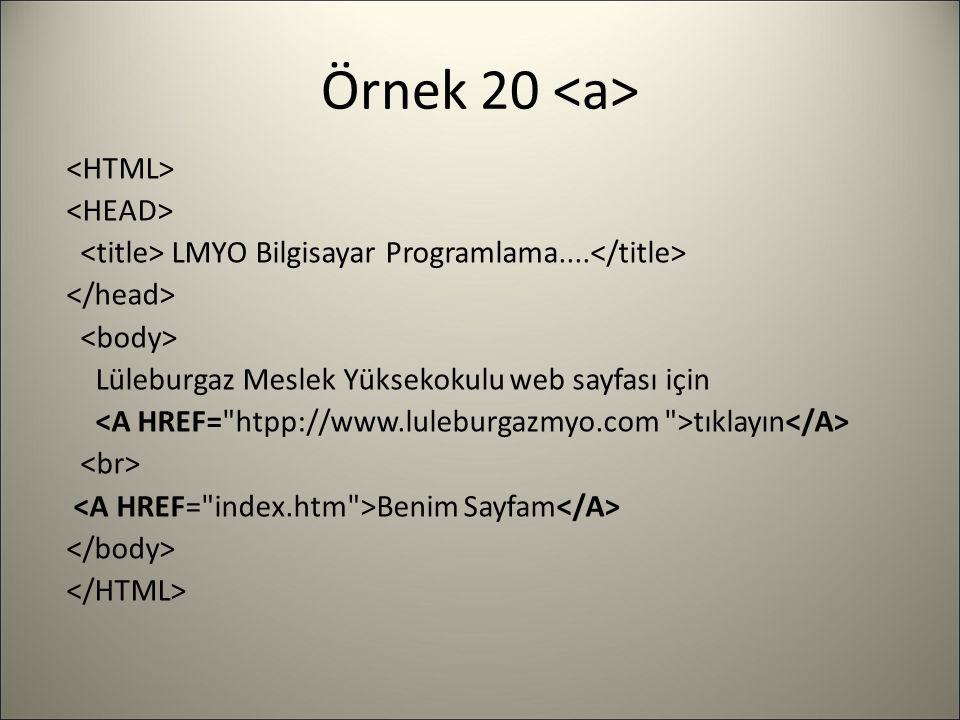Örnek 20 LMYO Bilgisayar Programlama....