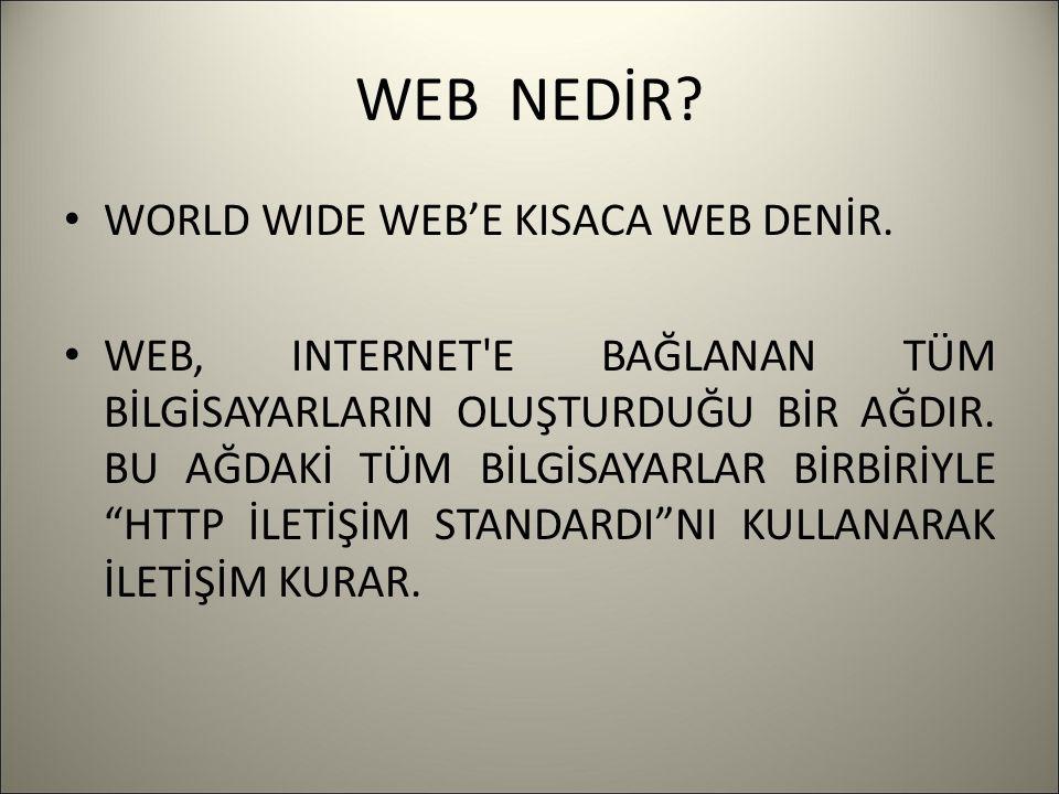 WEB NEDİR? WORLD WIDE WEB'E KISACA WEB DENİR. WEB, INTERNET'E BAĞLANAN TÜM BİLGİSAYARLARIN OLUŞTURDUĞU BİR AĞDIR. BU AĞDAKİ TÜM BİLGİSAYARLAR BİRBİRİY
