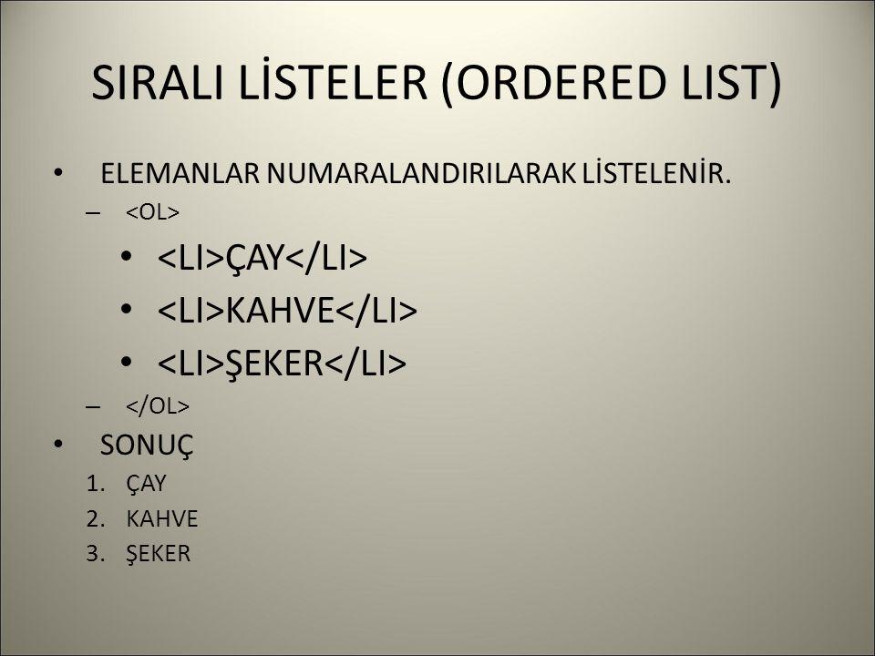 SIRALI LİSTELER (ORDERED LIST) ELEMANLAR NUMARALANDIRILARAK LİSTELENİR.