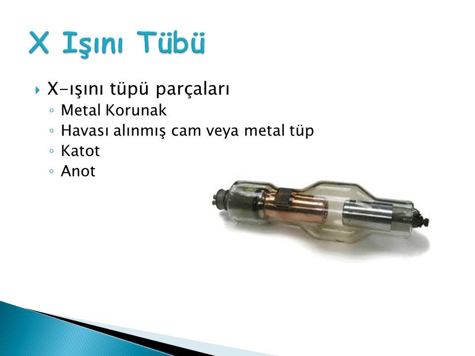  X-ışını tüpü parçaları ◦ Metal Korunak ◦ Havası alınmış cam veya metal tüp ◦ Katot ◦ Anot