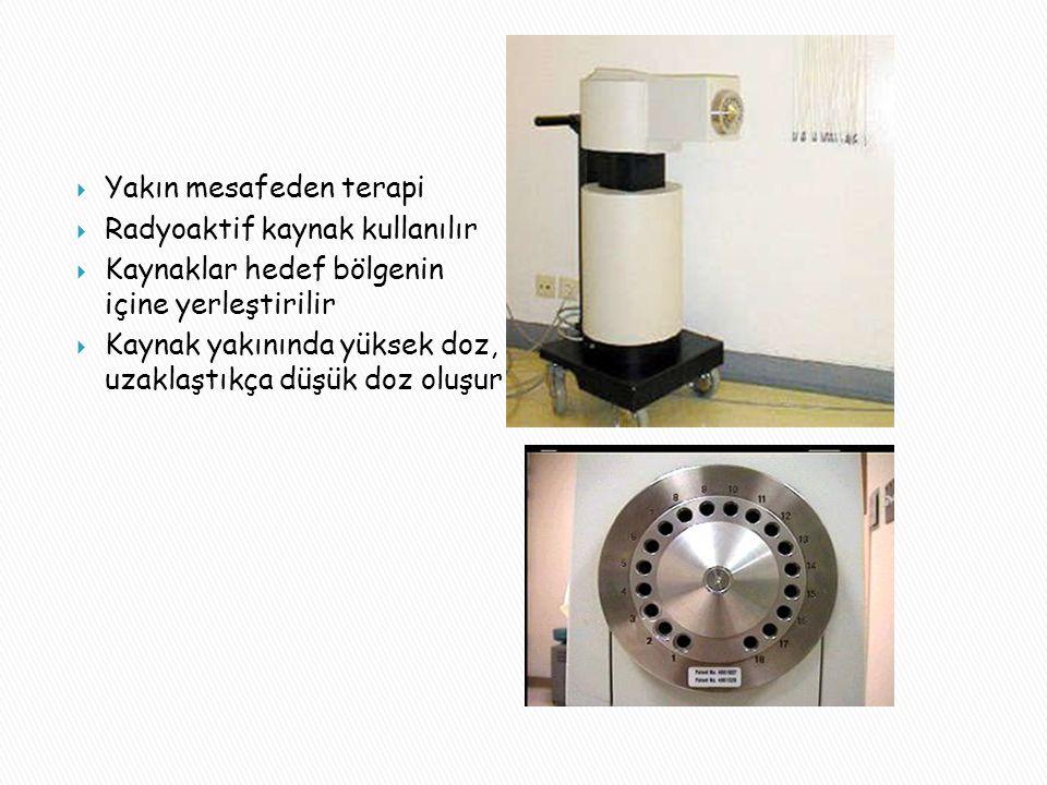  Yakın mesafeden terapi  Radyoaktif kaynak kullanılır  Kaynaklar hedef bölgenin içine yerleştirilir  Kaynak yakınında yüksek doz, uzaklaştıkça düşük doz oluşur