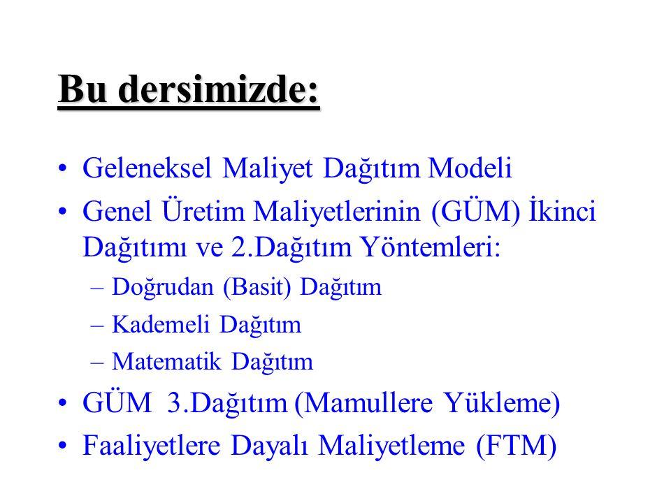 Bu dersimizde: Geleneksel Maliyet Dağıtım Modeli Genel Üretim Maliyetlerinin (GÜM) İkinci Dağıtımı ve 2.Dağıtım Yöntemleri: –Doğrudan (Basit) Dağıtım –Kademeli Dağıtım –Matematik Dağıtım GÜM 3.Dağıtım (Mamullere Yükleme) Faaliyetlere Dayalı Maliyetleme (FTM)