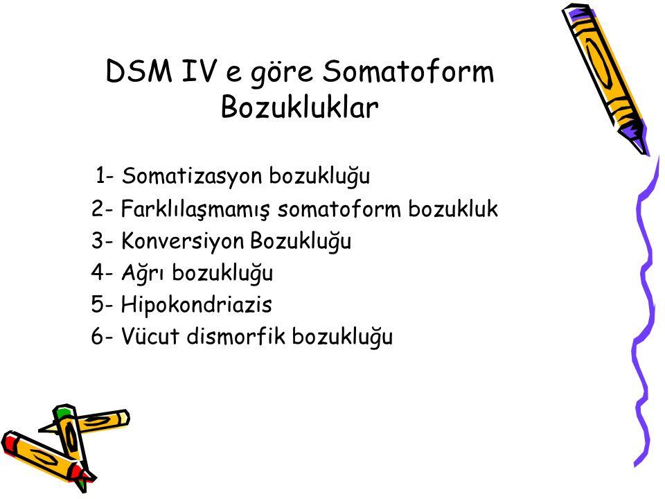 DSM IV e göre Somatoform Bozukluklar 1- Somatizasyon bozukluğu 2- Farklılaşmamış somatoform bozukluk 3- Konversiyon Bozukluğu 4- Ağrı bozukluğu 5- Hip