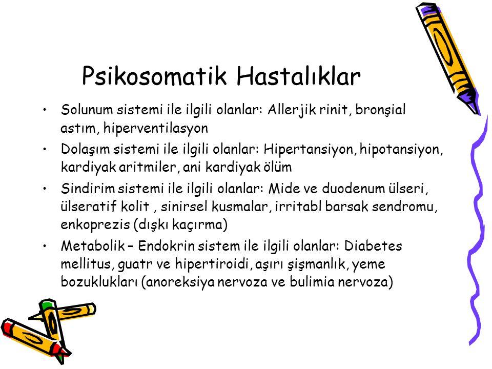 Psikosomatik Hastalıklar Solunum sistemi ile ilgili olanlar: Allerjik rinit, bronşial astım, hiperventilasyon Dolaşım sistemi ile ilgili olanlar: Hipe