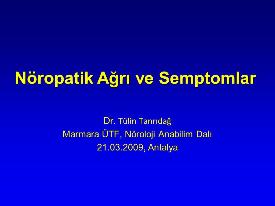 Nöropatik Ağrı ve Semptomlar Dr. Tülin Tanrıdağ Marmara ÜTF, Nöroloji Anabilim Dalı 21.03.2009, Antalya