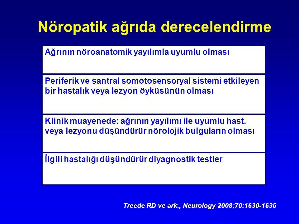Treede RD ve ark., Neurology 2008;70:1630-1635 Ağrının nöroanatomik yayılımla uyumlu olması Periferik ve santral somotosensoryal sistemi etkileyen bir