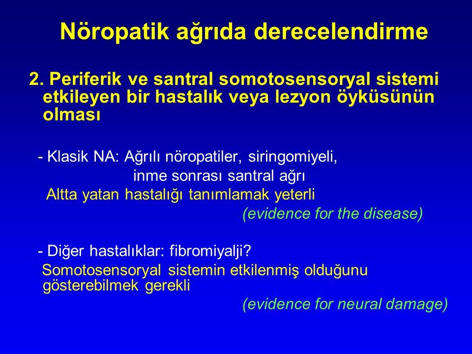 Nöropatik ağrıda derecelendirme 2. Periferik ve santral somotosensoryal sistemi etkileyen bir hastalık veya lezyon öyküsünün olması - Klasik NA: Ağrıl