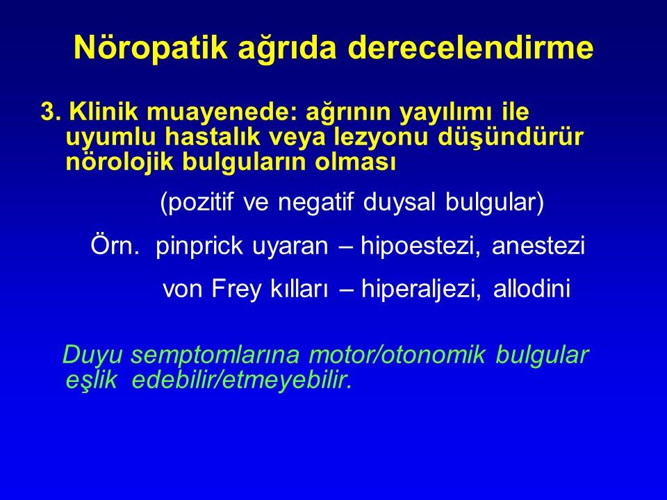 Nöropatik ağrıda derecelendirme 3. Klinik muayenede: ağrının yayılımı ile uyumlu hastalık veya lezyonu düşündürür nörolojik bulguların olması (pozitif