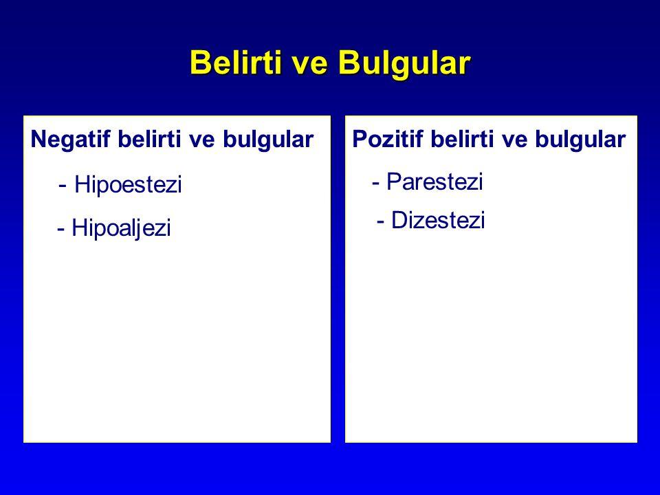 Belirti ve Bulgular Negatif belirti ve bulgular - Hipoestezi - Hipoaljezi Pozitif belirti ve bulgular - Parestezi - Dizestezi