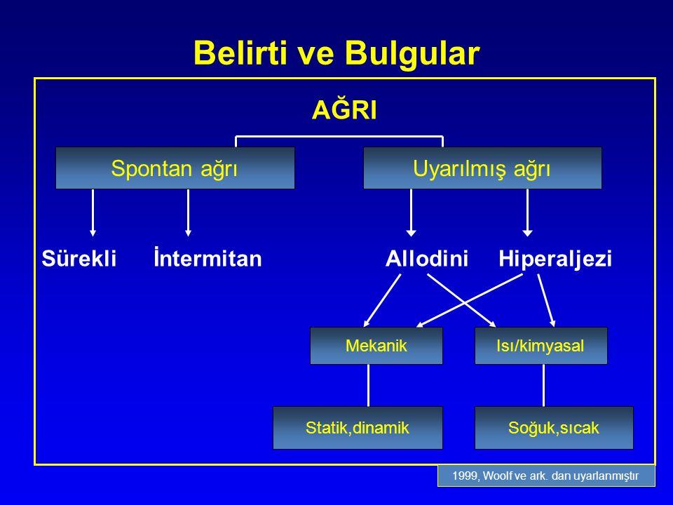 AĞRI Sürekli İntermitan Allodini Hiperaljezi Spontan ağrı Uyarılmış ağrı MekanikIsı/kimyasal Statik,dinamikSoğuk,sıcak Spontan ağrı 1999, Woolf ve ark