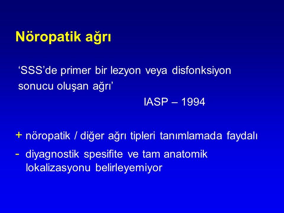 Nöropatik ağrı 'SSS'de primer bir lezyon veya disfonksiyon sonucu oluşan ağrı' IASP – 1994 + nöropatik / diğer ağrı tipleri tanımlamada faydalı - diya