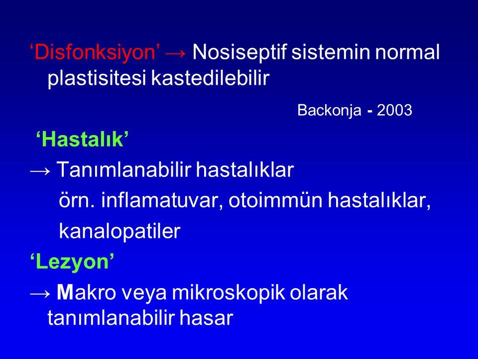 'Disfonksiyon' → Nosiseptif sistemin normal plastisitesi kastedilebilir Backonja - 2003 'Hastalık' → Tanımlanabilir hastalıklar örn. inflamatuvar, oto