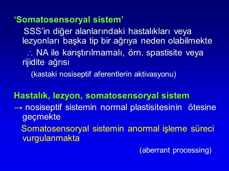 'Somatosensoryal sistem' SSS'in diğer alanlarındaki hastalıkları veya lezyonları başka tip bir ağrıya neden olabilmekte  NA ile karıştırılmamalı, örn